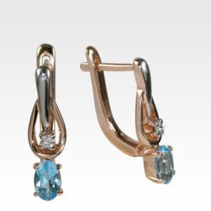 Серьги из золота с топазами и бриллиантами Арт0602029