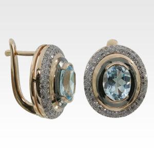 Серьги из золота с топазами и бриллиантами Арт0602048