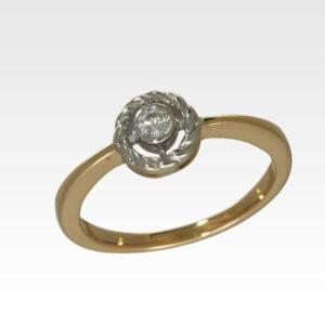 Кольцо из золота с центральным бриллиантом Арт1101451