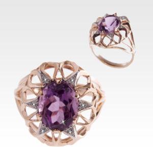 Кольцо из золота с аметистом и бриллиантами Арт1601003
