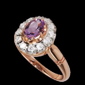 Кольцо из золота с аметистом и бриллиантами Арт1601010
