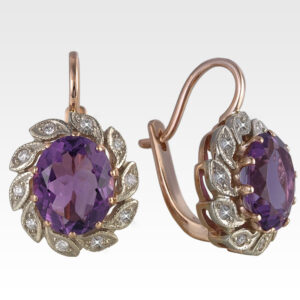 Серьги из золота с аметистами и бриллиантами Арт1602003